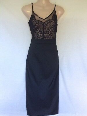 Missguided Gorgeous Black Lace Trim Evening Dress Size 10 Bnwt New