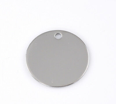 """50PCs Silver Tone Round Stainless Steel  Pendants 30mm(1 1/8"""") Dia"""