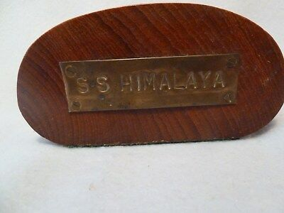 Piece Of Handrail From S.s. Himalaya  With Plaque Shipping Memorabilia