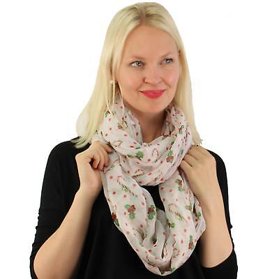 Candy Cane & Mistletoes Christmas Xmas Holiday Light Loop Infinity Scarf White