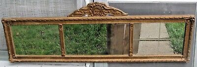 LARGE ANTIQUE GOLD GILT FRENCH WALL MIRROR LONG 3 SECTION MIRROR 1920's ERA AGE