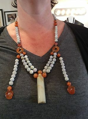 Fantastic, Perfect Chinese Court Necklace! Carnelian & Jade! Half Price