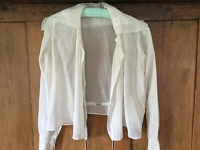 Vintage cotton lawn blouse - Tudresque - open front/long sleeves/detailed collar