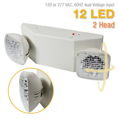 LED Twin Emergency Exit Light - Square Head UL Fire Code Safety UL924 ETL listed