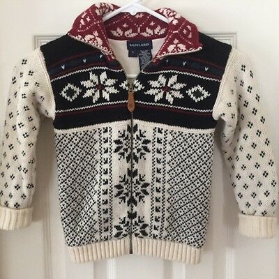 Ralph Lauren 5 Sweater Fair Isle Nordic Lined Full Zip Front Ivory Multicolored