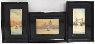 Set Of 3 Original Watercolour Paintings Of The Thames Signed G.M In Frames - B61