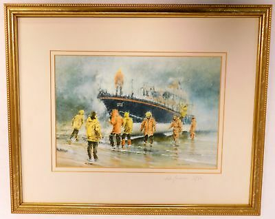 JOHN EMERSON Fishermen Docking Boat At Beach Signed Limited Edition Print - S79