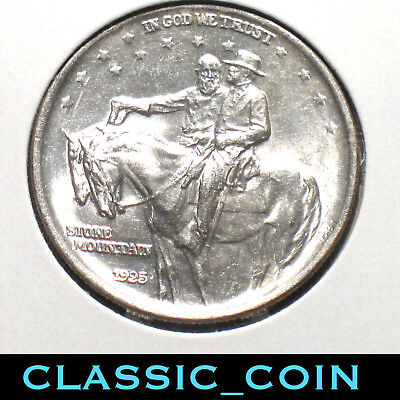 1925 SILVER STONE MOUNTAIN COMMEMORATIVE HALF DOLLAR 50c UNC DETAILS FREE S/H