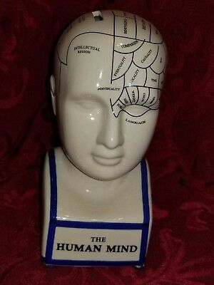 Phrenology Head Bank The Human Mind / Brain  New Ceramic Coin Bank