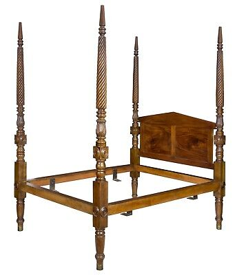 SWC-Exceptional Classical Mahogany Tall Post Wide Custom Queen Size Bed, c.1840