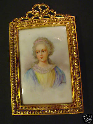 19th C. FRENCH GILT FRAME, ENAMEL ON PORCELAIN, SIGNED PORTRAIT