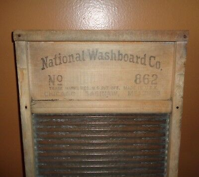 ~Vintage National Washboard Co. Top Notch No. 862 Glass Wood Laundry Board