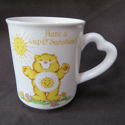 Care Bears Funshine Have A Cup of Sunshine Coffee Mug Heart Handle 1983 Original
