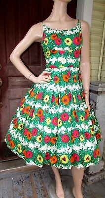 Vtg 50s Full Swing FLORAL Cotton Cocktail Party Rockabilly Pin-Up SunDress S