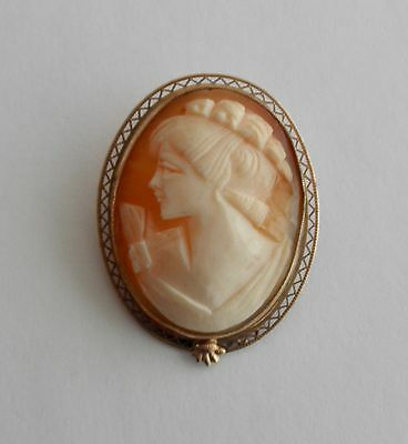 CAMEO Brooch and Pendant in Reticulated Gold-Filled Frame
