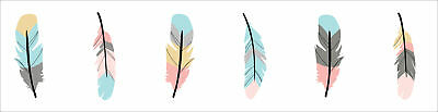 Sweet Jojo Turquoise Coral Feather Baby Kid Wall Paper Border Room Wallcovering