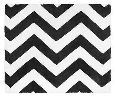 Sweet Jojo Designs Baby Kid Floor Rug For Black White Chevron Zigzag Bedding Set