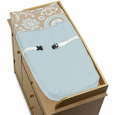 Sweet Jojo Design Changing Table Pad Cover For Blue Taupe White Baby Bedding Set