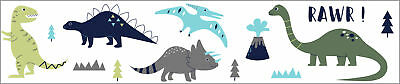 Sweet Jojo Blue And Green Mod Dinosaur Baby Wall Paper Border Room Wallcoverings