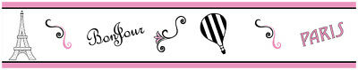 Sweet Jojo Pink Black White Paris Baby Kids Wall Paper Border Room Wallcovering