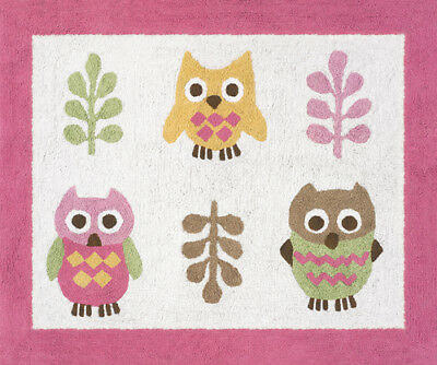 Girls Baby Kids Room Floor Rug for Sweet Jojo Pink Modern Happy Owl Bedding Sets