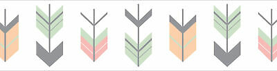 Sweet Jojo Coral Mint Gray Woodland Arrow Baby Girl Wall Paper Border Room Decor