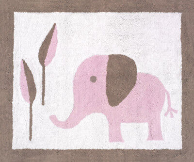 Baby Kid Room Floor Rug for Sweet Jojo Design Pink Mod Elephant Girl Bedding Set