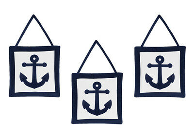 Wall Art Decor Hanging For Jojo Designs Navy Blue White Nautical Anchor Bedding
