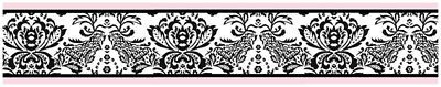 Sweet Jojo Pink Black Sophia Damask Baby Kid Wall Paper Border Room Wallcovering
