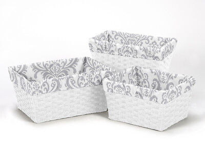 Gray White Damask Organizer Storage Kid Basket Liners Fit Small Medium Large Bin
