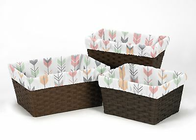 Coral Woodland Arrow Organizer Storage Basket Liner Fit Small Medium Large Bin