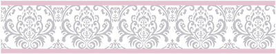 Sweet Jojo Designs Pink Gray Damask Baby Kid Wall Paper Border Room Wallcovering