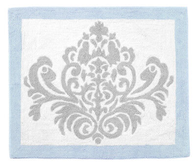 Sweet Jojo Designs Baby Kids Floor Rug For Blue Grey White Damask Bedding Set