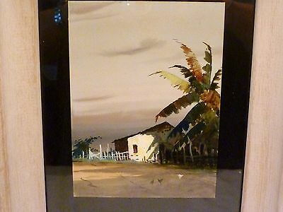 SOUTHWESTERN Adobe Farmhouse LANDSCAPE Chickens WATERCOLOR PAINTING Keehle