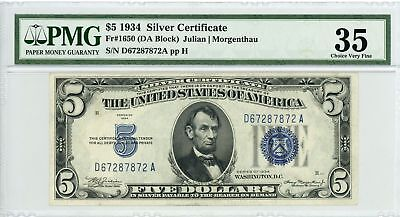 1934 Fr.1650 $5 United States Silver Certificate - PMG Ch.VF 35