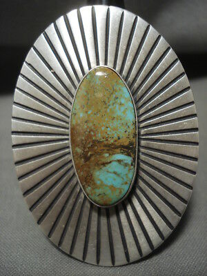 Important Chee Family Navajo Royston Turquoise Silver Ring- Big!