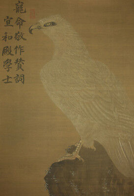 "Chinese Hanging Scroll ""White Hawk on Rock""  @z631"