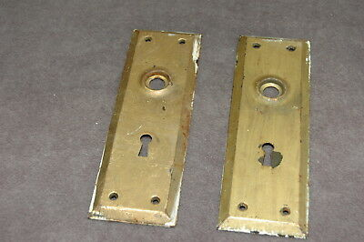 2 Antique Vintage Door Knob Back Plates Architectural Salvage Arts Crafts