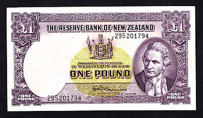 New Zealand 1 Pound (1956-67)  Fleming  w/ Thread VF  Note P. 159d