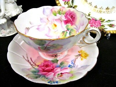 Made In Japan Tea Cup And Saucer Painted Cabbage Rose Pink Teacup Pattern