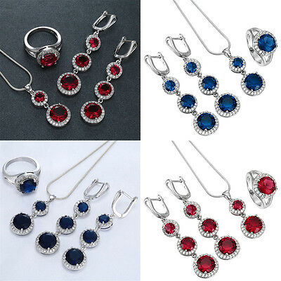 Women 925 Silver Set Double Color Gem Necklace Pendant Rings Earrings Jewelry