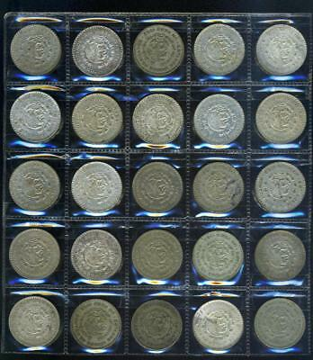 25 Old Mexican Silver One Peso Coins