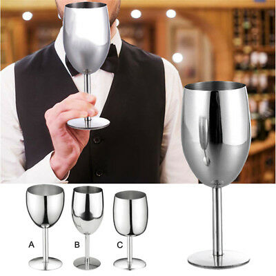 Stainless Steel Metal Large Medium Small Wine Glass Goblet Wineglass Liquid Cup