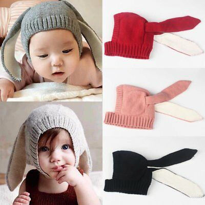 Baby Toddler Kids Boy Girl Rabbit Knitted Crochet Warm Hat Cap Ear Beanie Winter