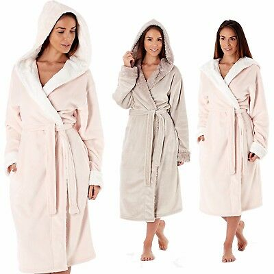 Ladies Winter Woodland Super Soft Coral Fleece Hooded Dressing Gown Robe 8 - 18