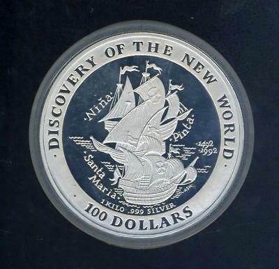 1992 Bermuda $100.00 One Kilogram Silver Proof Coin - Santa Maria