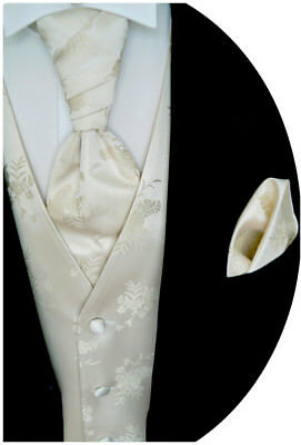 Wedding Waistcoat with Plastron, Handkerchief and Tie 4 Pieces Model no. 10.1