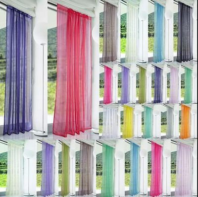 2PCS ome Floral Tulle Voile Door Window Curtain Drape Panel Sheer Scarf Valances