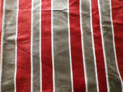 Vintage Red Silver Grey Striped Velvet Upholstery Fabric Offcut
