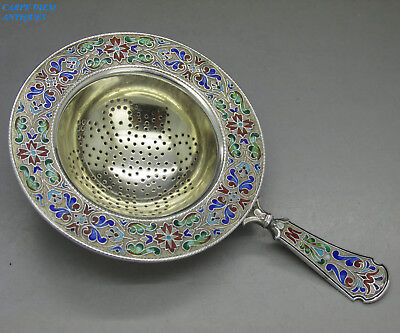 VINTAGE GOOD RUSSIAN STYLE SUPERB SOLID SILVER & ENAMEL TEA STRAINER, 59g, c1935